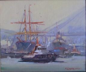 Historic Ships Sydney. oil. 26x31