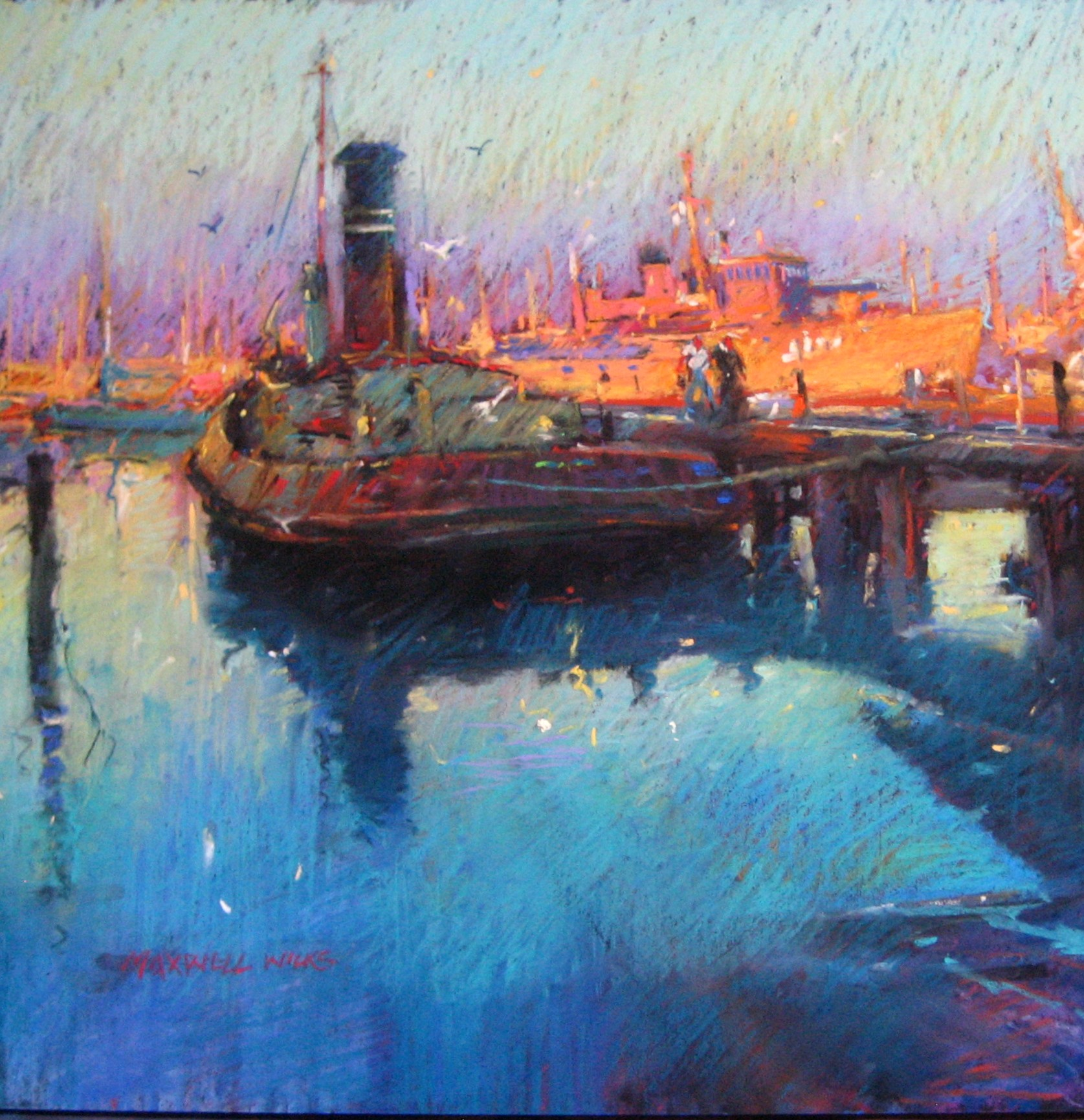Late Afternoon Williamstown. Pastel 800cmx700cm