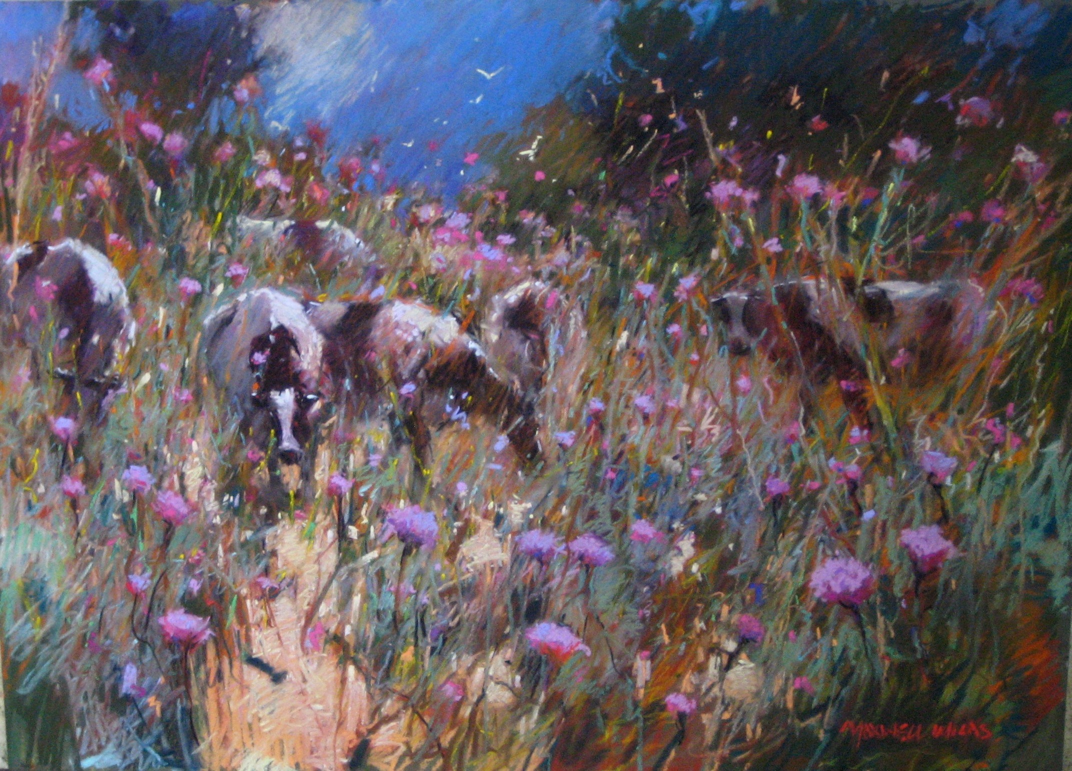 Wandering among the thistles. Pastel. 76x55cm