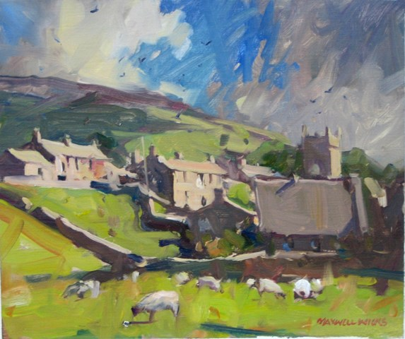 Hillside-Village-Scotland.-Oil.-260cmx320cm